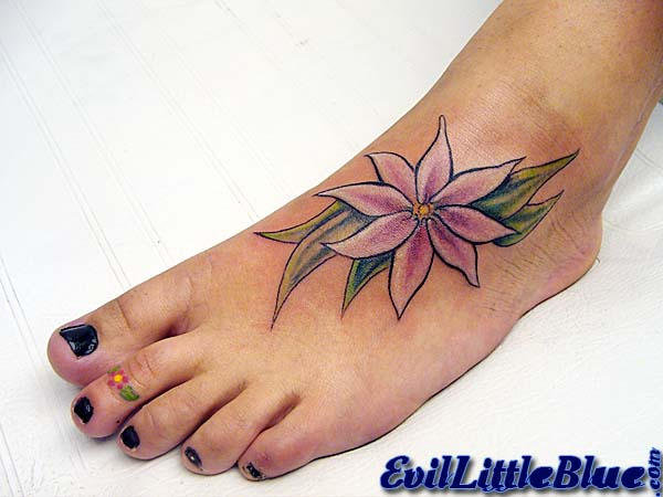 Beautiful Foot Flower - flower tattoo