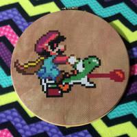 Mario and Yoshi by MadXStitcher
