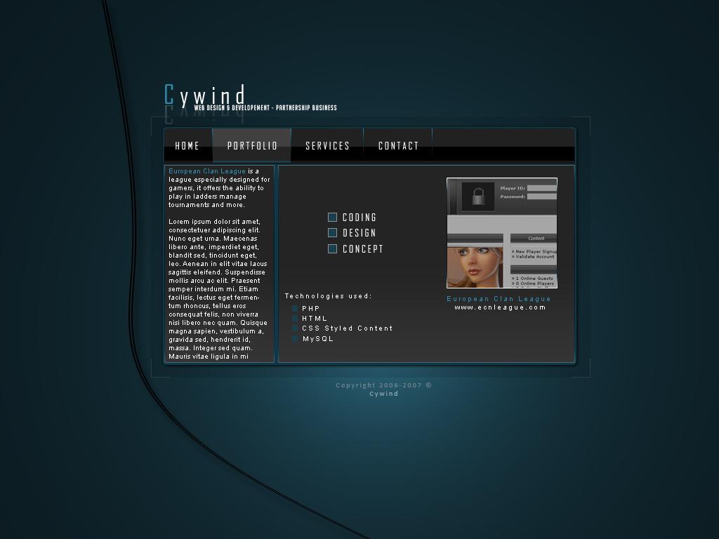 Cywind Portfolio Concept by sylvershark