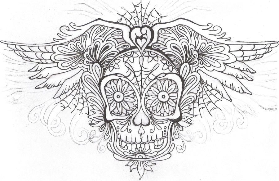 SugarSkull Outline By DarcyRenee On DeviantArt