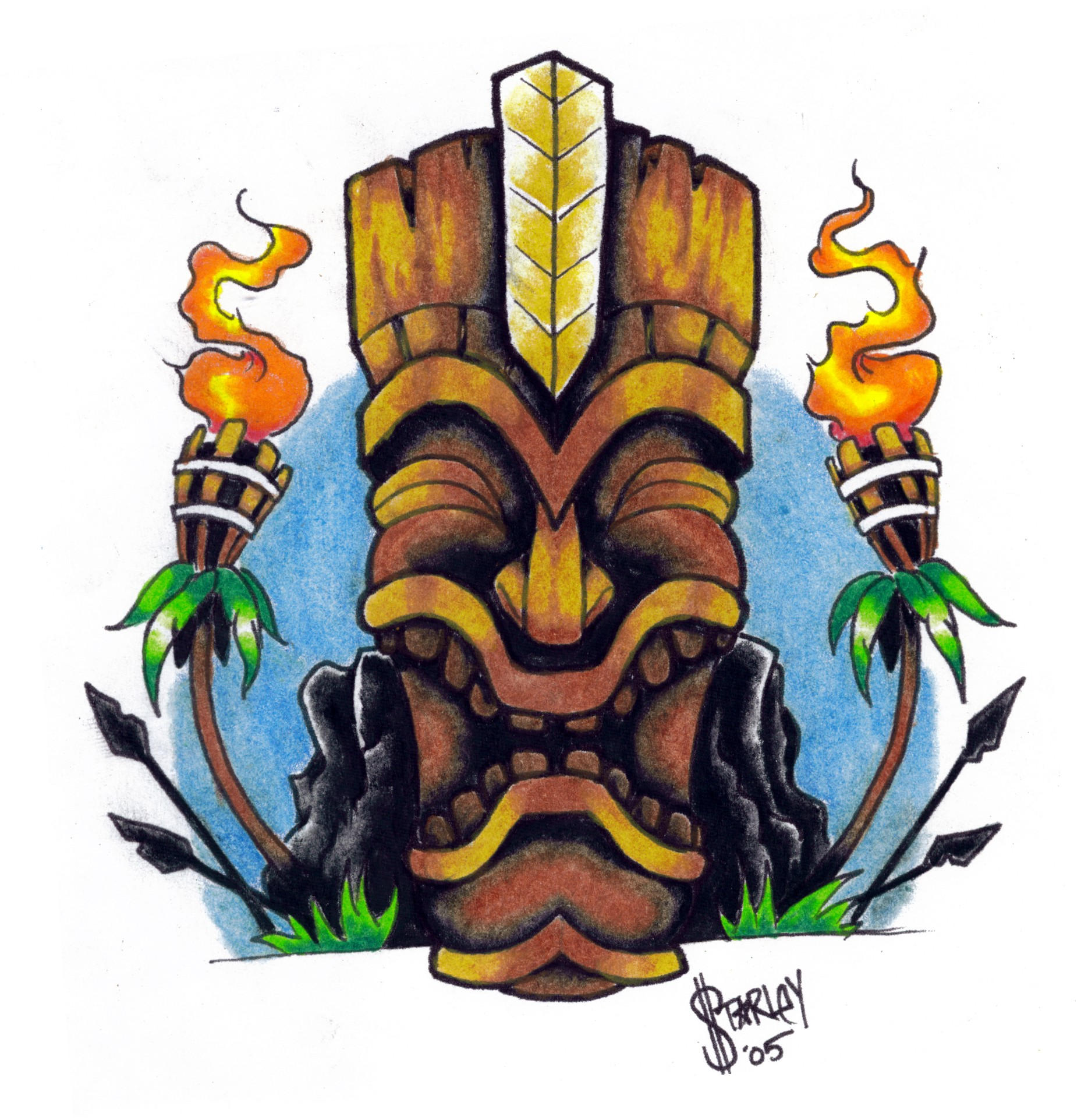 KU - the tiki war god. by inkeduptrash