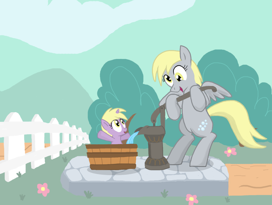 Derpy Giving Dinky A bath by Shutterflye