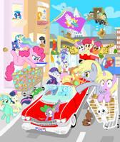 Silly ponies doing stuff by Shutterflye