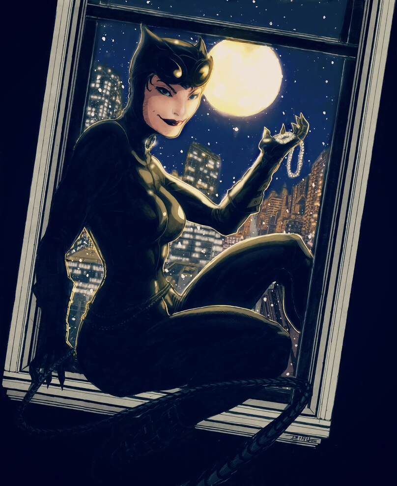 Catwoman Pearl Necklace color by arissuparmanart