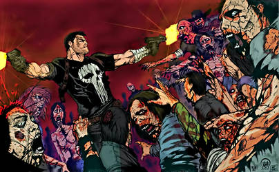 Frank Castle vs The Walking Dead by arissuparmanart