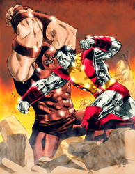 Juggernaut vs Colossus by arissuparmanart