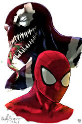 Spiderman and Venom by arissuparmanart