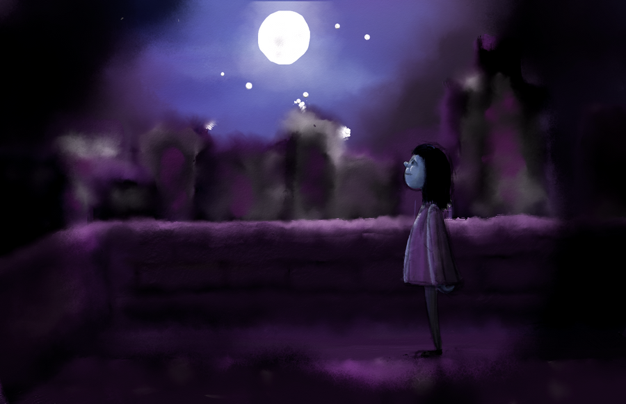 Moon and girl by josempans