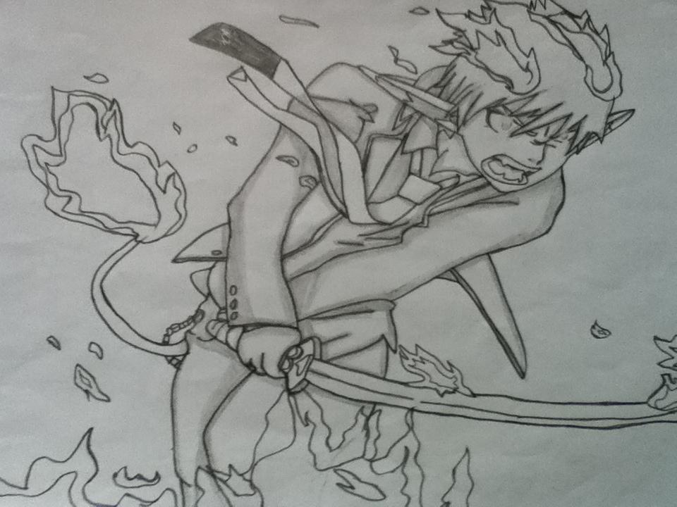 how to draw rin okumura demon form