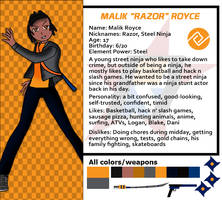 Red Dasher reference sheets- Malik Royce