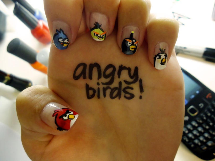 Angry Birds Nail Art by damselindisdress on DeviantArt