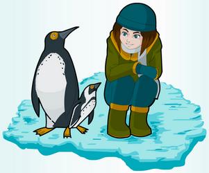 Girl and Penguins by pokesafari