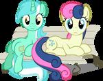 Lyra and Bon Bon (Bench) by nikolaz15