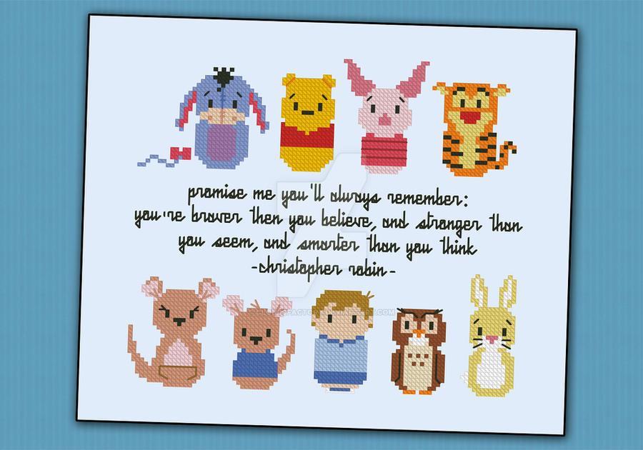 Mini People - Winnie the Pooh cross stitch pattern by cloudsfactory