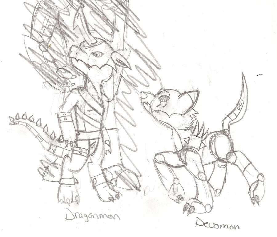 Dragon and Devo Digimon Doodle by Randomly-Artistic
