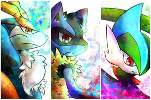 Cobalion, Lucario and Gallade by nightsanghaw