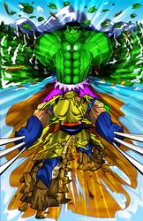 Hulk vs. Wolverine by kudoze