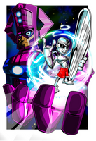 Galactus And Silver Surfer by kudoze