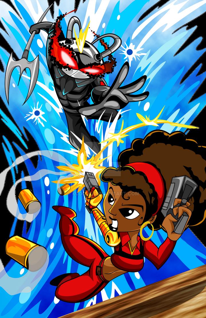 Black Manta Vs Misty Knight by kudoze