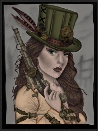 Steampunk red head girl
