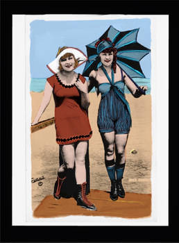 Bathing beauties colorized by me