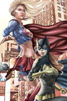 Power couple supergirl and batgirl by Larryjrneal