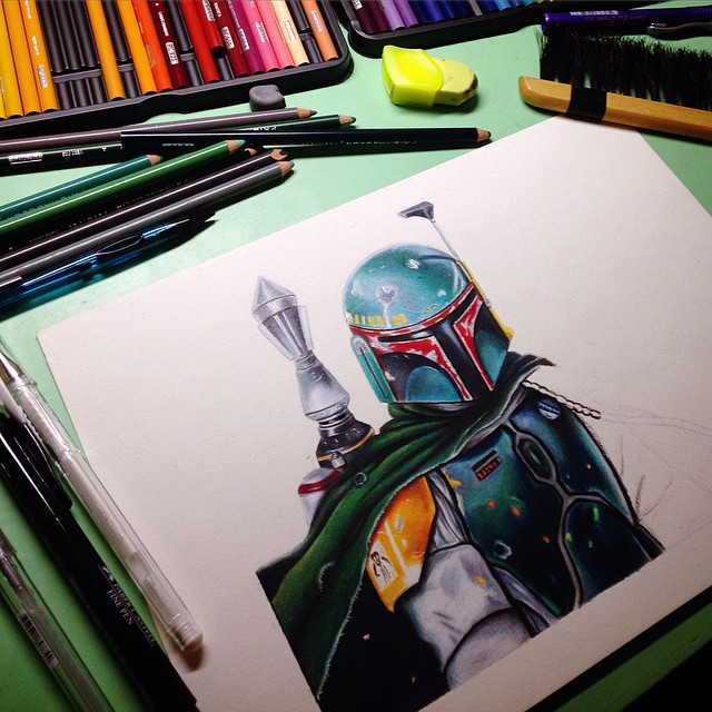 Wip of Boba Fett Draw by Deleitesemcor