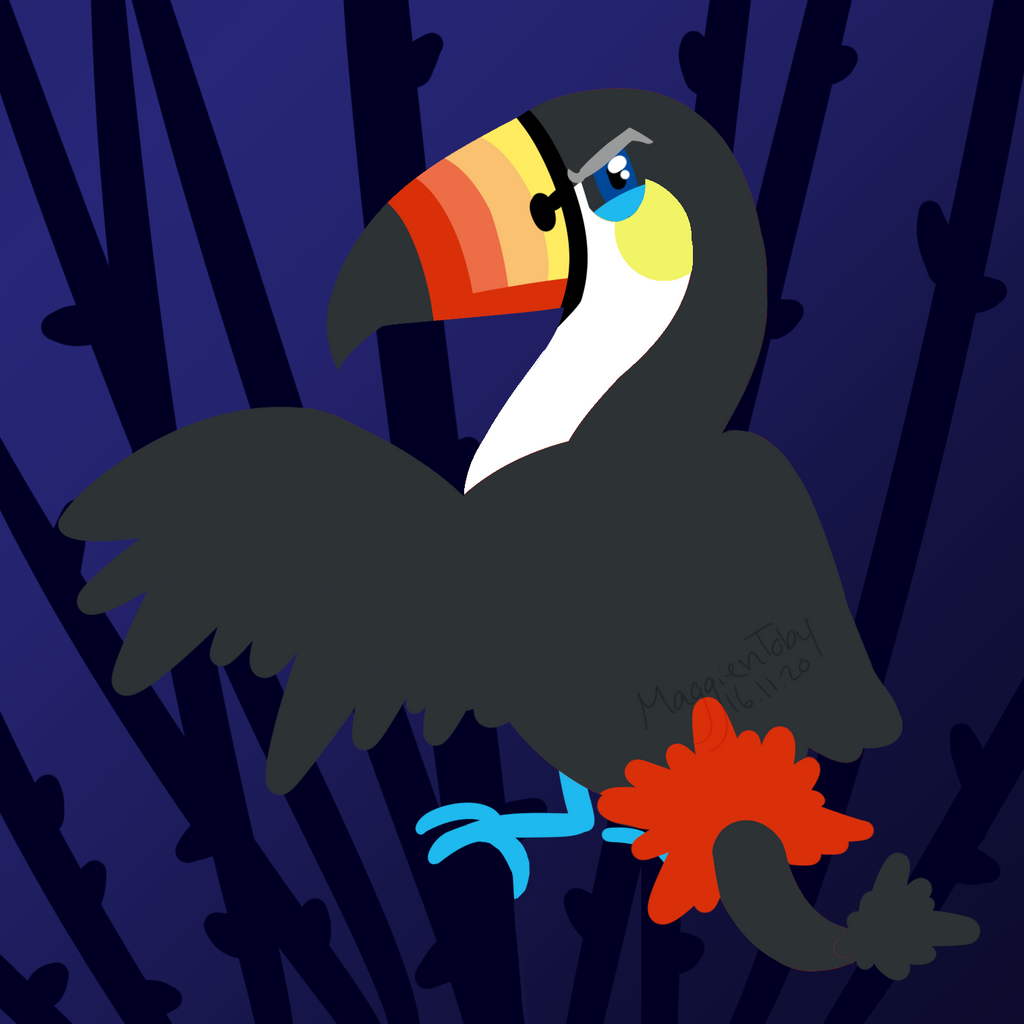 Toucan sam flying