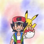 Ash and Pikachu by Krumpultous