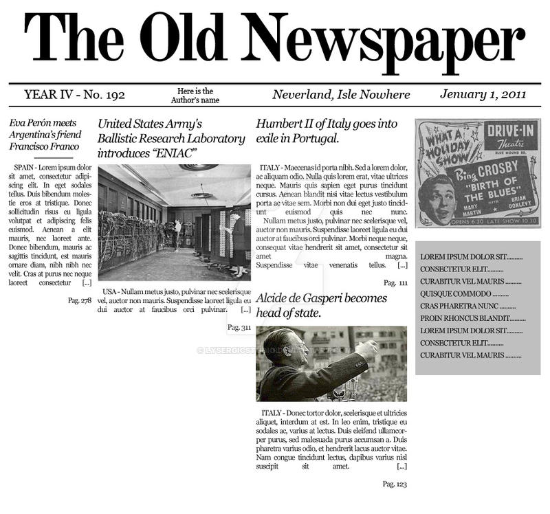 Old Time Newspaper Template Newspaper Front Page Blank Template