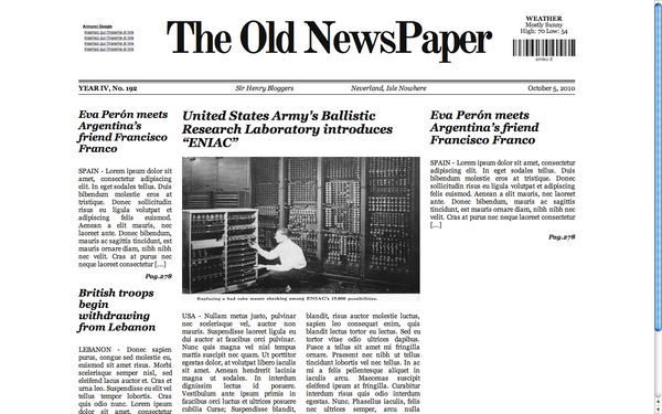 The Old Newspaper Wp Theme Cip By Lysergicstudio On Deviantart