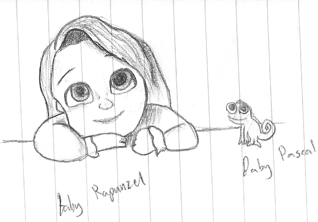 how to draw baby rapunzel