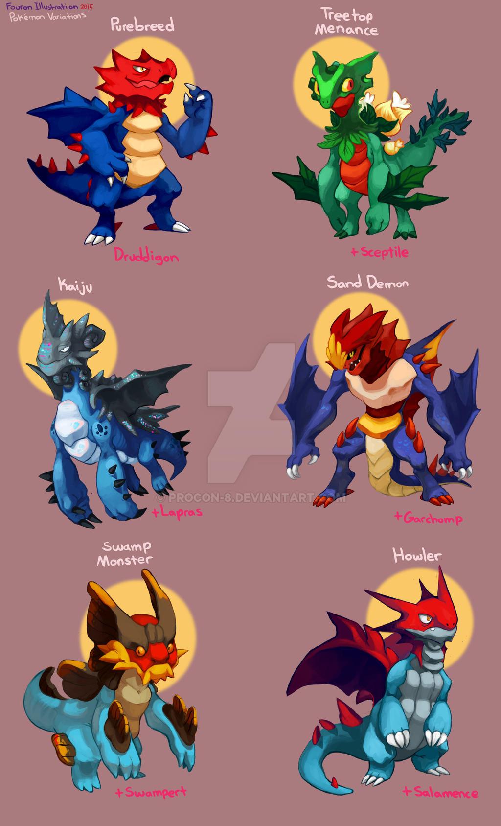 Pokemon Variations- Druddigon by procon-8 on DeviantArt Wailmer Evolution Chart