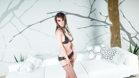 Eva Black Leather XII by WhiteB3