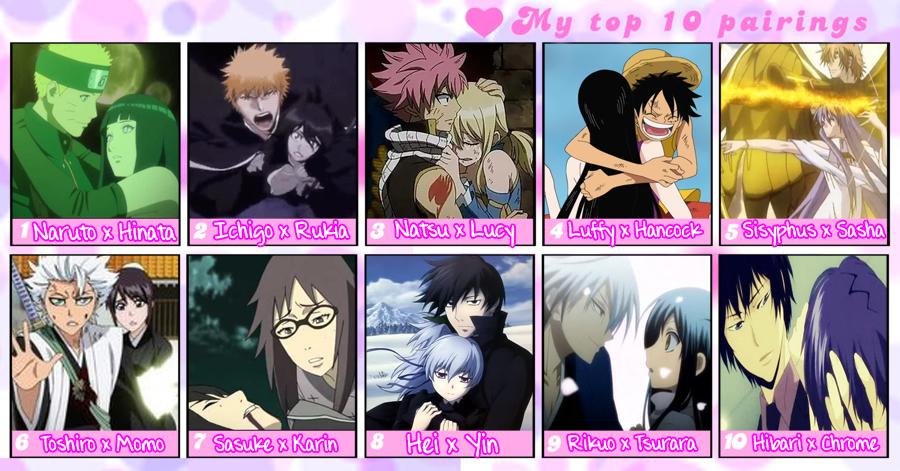My Top 10 anime pairings by Momo-Gazerock