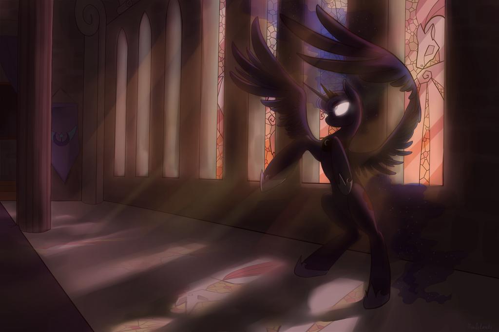Ilustration~ Shadows over Equestria, Luna by Mao-Ookaneko