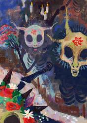 Drawtober 01 - Skeleton Parade by WolfieDrawie