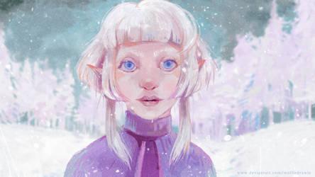 Aurora Aksnes must be snow elf! by WolfieDrawie