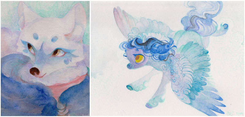 3 hours watercolor rewards - March 2019 by WolfieDrawie