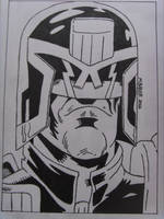 JUDGE DREDD - Inked Drawing by MikeBaker95