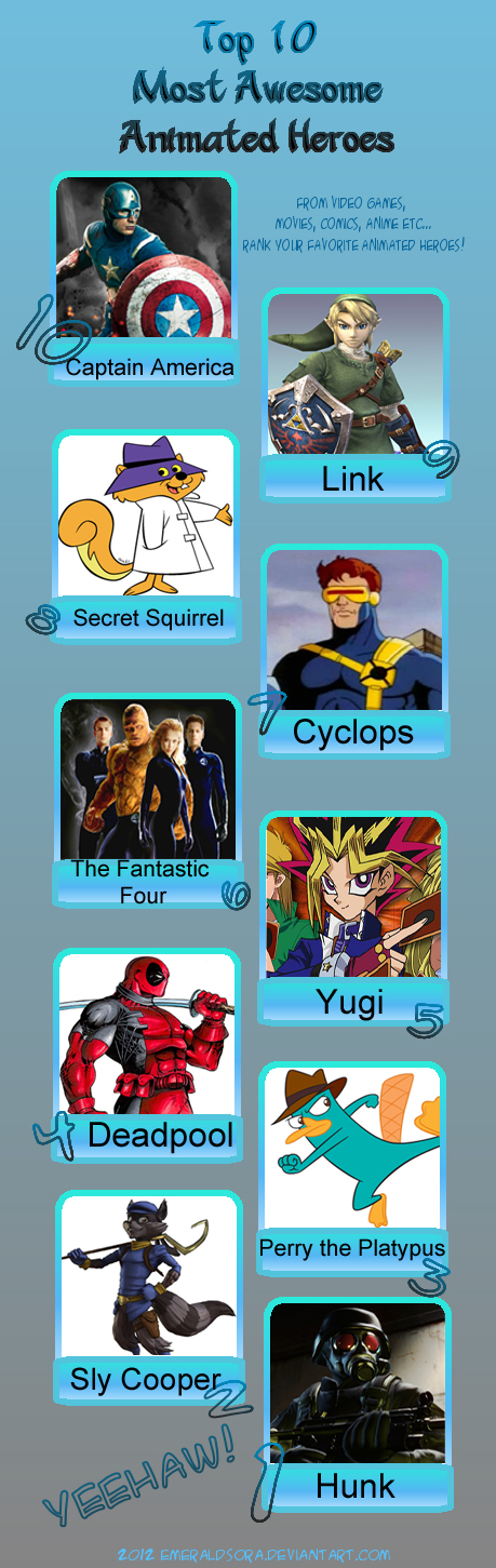 My top ten awesome heroes 2 by Porygon2z