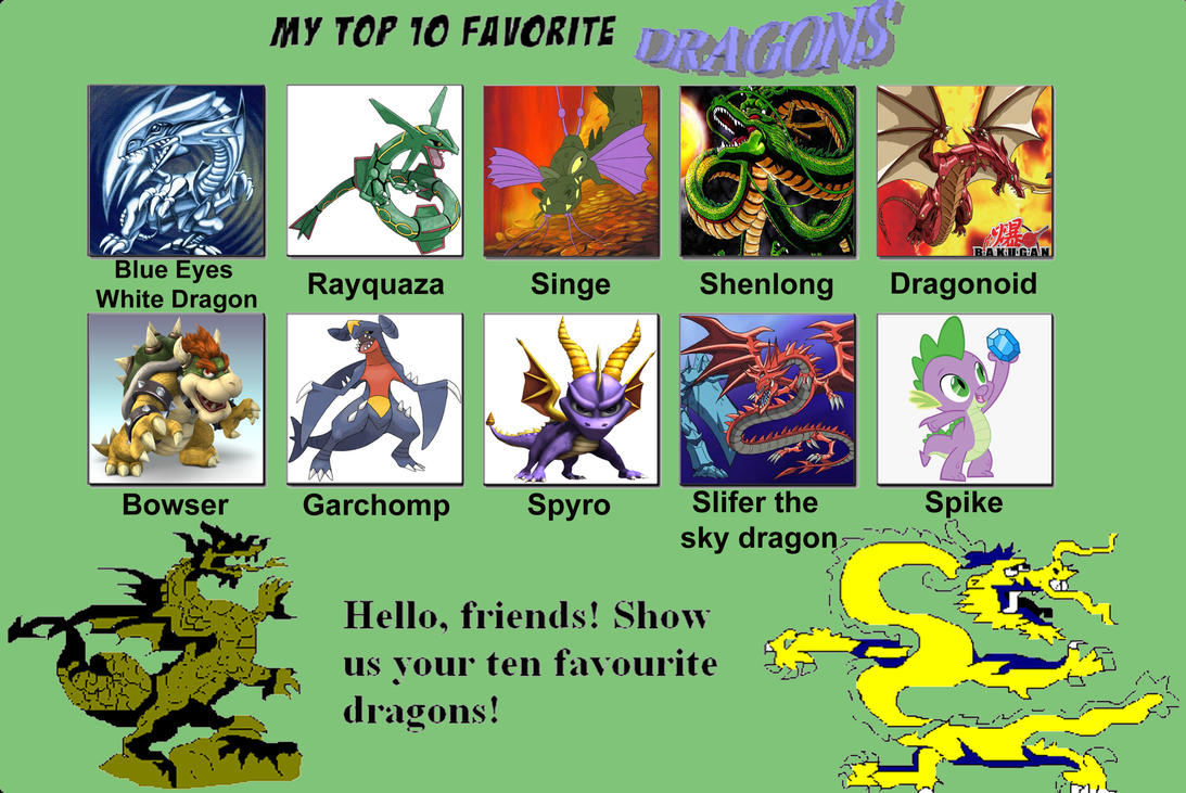 My top ten favorite dragons by porygon2z