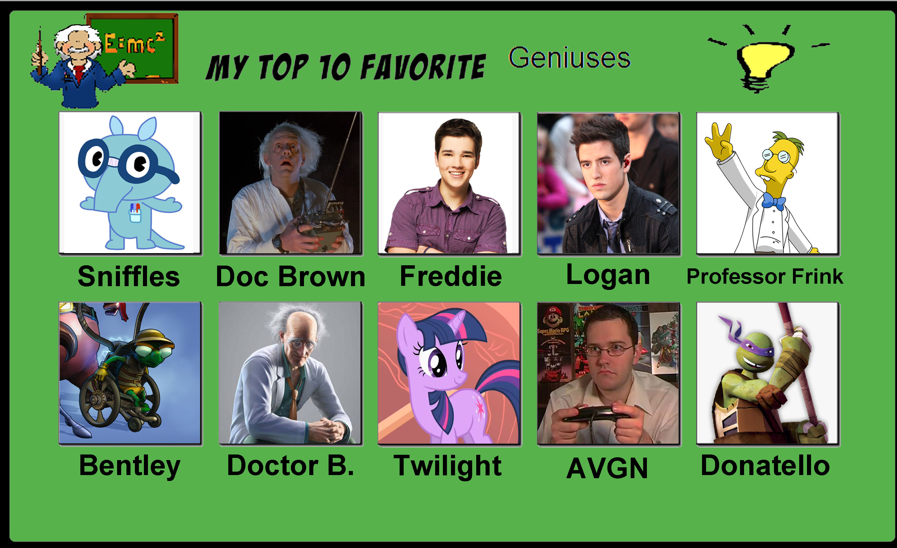 My top ten favorite geniuses by porygon2z