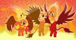 The Fire Griffon family by Porygon2z