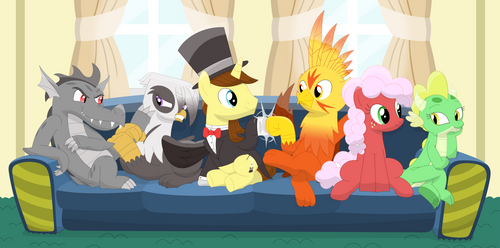 A couch full of friends (Original Six) by Porygon2z