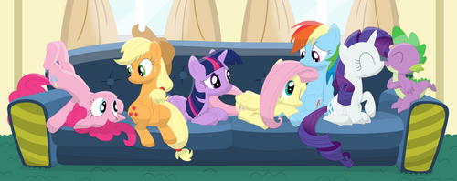 A couch full of friends (Mane Seven) by Porygon2z
