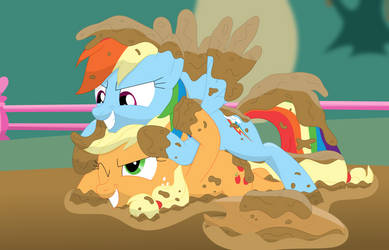 A good and dirty rumble (Rainbow and Applejack) by Porygon2z