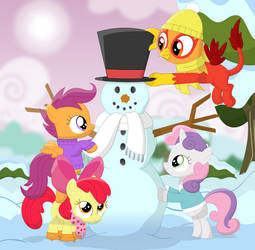 Four crusaders and a snowman by Porygon2z