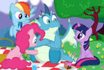 Gutz meets the ponies by Porygon2z