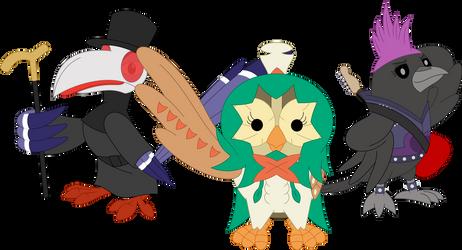 A Halloween bird trio